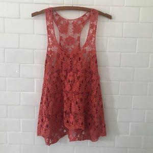 Tops - Crochet orange tank